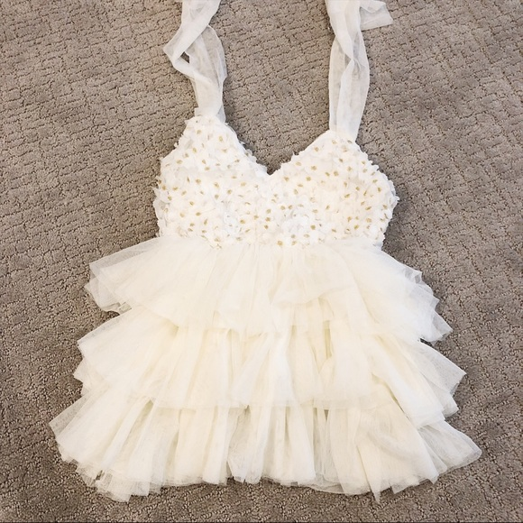 Dresses | Soft Frilly Dress With Gold Flower Size 2t Nwot | Poshmark